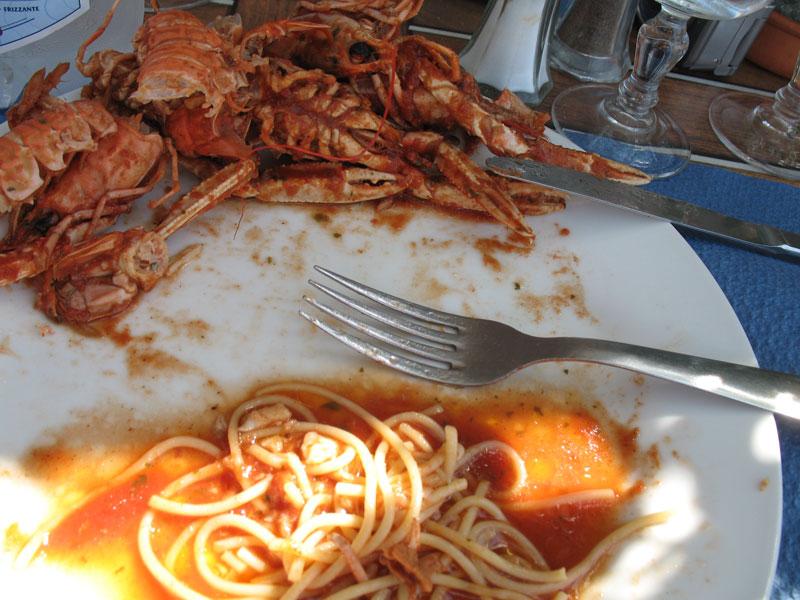 Langustinen mit Spaghetti