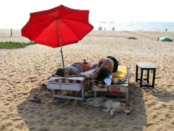 Menschen und Hund am Strand von Goa