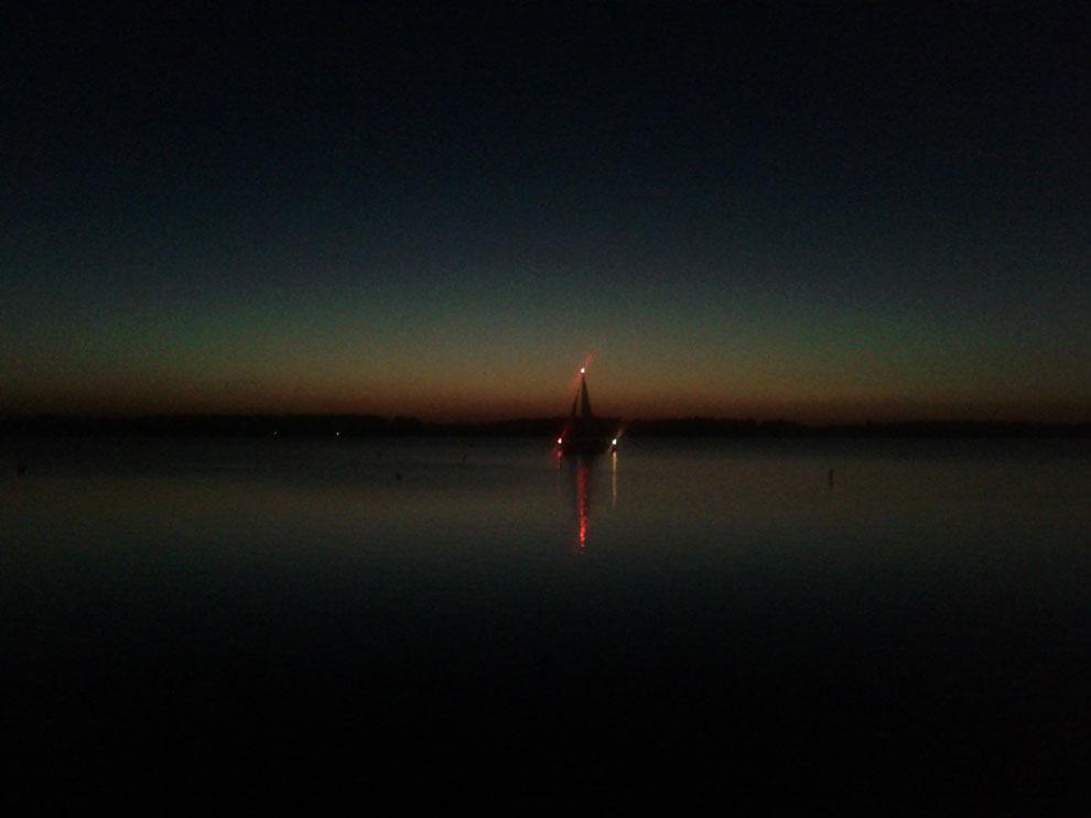Segelschiff am Abend am Cospudener See