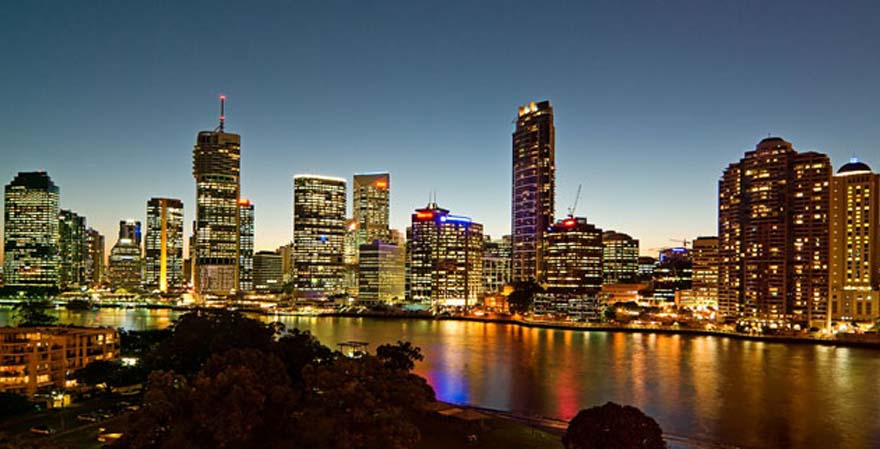 Brisbane River City Skyline at Sunset